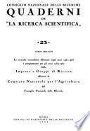 Le Ricerche scientifiche promosse