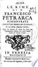 Le rime di M. Francesco Petrarca