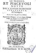 Le Tredici, Et Piacevoli Notte Del S. Giovan Francesco Straparola, da Carauaggio