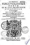 Le Tredici piacevolissime notte di M. Gio. Francesco Straparola da Caravaggio...