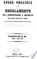 Legge organica e Regolamento per l'amministrazione e contabilita delle Universita Israelitiche del Piemonte