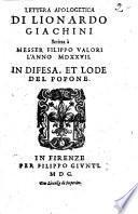 Lettera apologetica di Lionardo Giachini scritta a messer Filippo Valori l'anno 1527 in difesa, et lode del popone