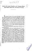 Lettera del cessato Consultore avv. Valentino Pasini agli abitanti della città e provincia di Vicenza