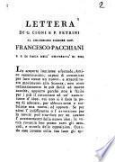 Lettera di G. Cioni e P. Petrini al chiarissimo signore dot. Francesco Pacchiani p. p. di fisica nell'università di Pisa