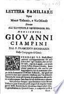 Lettera familiare sopra Monte Testaccio, e Via Ostiense, diretta all'illustriss. ... Monsignor Giovanni Ciampini, etc