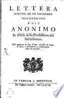 Lettera scritta ad un cavaliere suo padrone dall'Anonimo in difesa della Professione del Salimbanco