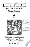 Lettere di Messer Horatio Brunetto