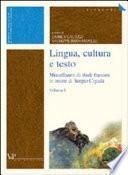 Lingua, cultura e testo
