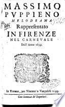 Massimo Puppieno melodrama rappresentato in Firenze nel carnevale dell'anno 1699