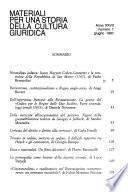 Materiali per una storia della cultura giuridica