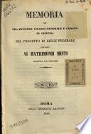 Memoria del sig. Dunoyer vicario generale e curato di Ginevra sul progetto di legge federale riguardo ai matrimonii misti