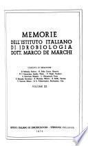 Memorie Dell'Istituto Italiano Di Idrobiologia Dott. Marco De Marchi