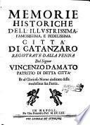 Memorie historiche dell'illustrissima, famosissima, e fedelissima città di Catanzaro