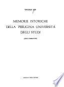 Memorie istoriche della perugina Università degli studi (unico pubblicato)