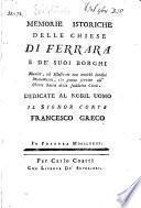 Memorie istoriche delle chiese di Ferrara e de' suoi borghi
