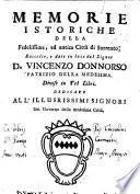 Memorie istoricho della ... città di Sorrento