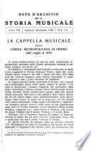 Note d'archivio per la storia musicale