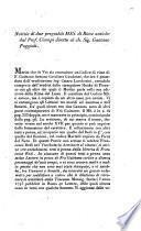 Notizie di due pregiabili mss. di rime antiche dal prof. Ciampi dirette al ch. sig. Gaetano Poggiali