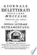 Notizie letterarie oltramontane per uso de' letterati d'Italia (Compilatori. Gaetano Cenni, Michelangelo Giacomelli e Petroni)