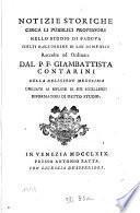 Notizie storichi circa li pubblici professori nello studio di Padova, scetti dall'Ordine di San Domenico