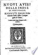 Nuoui auisi delle Indie di Portugallo, riceuuti dalli reuerendi padri della Compagnia di Giesu. Tradotti dalla lingua spagnola nell'italiana. Quinta parte