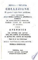 Nuova completa Collezione di quanto e stato sinora pubblicato sulla conversione alla chiesa cattolica di Carlo Luigi de Haller. 3. ed