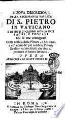 Nuova descrizione della sacrosanta basilica di S. Pietro in Vaticano