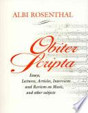 Obiter Scripta