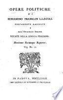 Opere politiche di Beniamino Franklin, L. L. D., F. R. S.