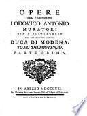 Opere tutte tanto edite che inedite del proposto Lodovico Antonio Muratori