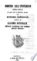 Orfeo all'inferno opera buffa in due atti e quattro quadri di Ettore Crémieux