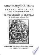 Osservazioni critiche sopra la storia della Via Appia di F.M. Pratilli