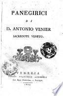 Panegirici di d. Antonio Venier sacerdote veneto