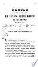 Parole dette il 9 settembre 1848 dal prevosto Giuseppe Robecchi al suo popolo nelle esequie dei morti per l'italiana indipendenza e dedicate ai prodi dell'esercito piemontese