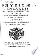 Physicae generalis methodo mathematica