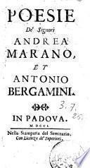 Poesie de' signori Andrea Marano et Antonio Bergamini