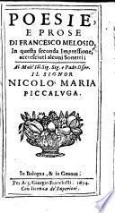 Poesie, e prose ... In questa seconda impressione accresciuti alcuni sonetti, etc. [Edited by Francesco Mazzi.]
