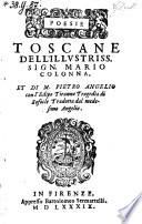 Poesie Toscane con l'Edipo Tiranno Tragedia di Sofocle (ridotta dalla Greca nella Toscana lingua da Pietro Angelij Bargeo.)