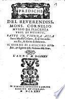 Prediche Del Reverendiss. Monsig. Cornelio Musso da Piacenza, Vesc. di Bitonto