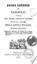Prime letture de' fanciulli opera del signor Giuseppe Taverna utilissima per l'insegnamento della lingua italiana