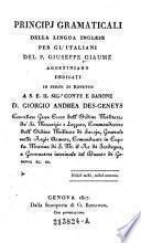 Principj gramaticali della lingua inglese per gl'italiani (etc.)