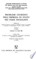 Problemi giuridici dell'impresa di stato nei paesi socialisti
