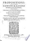 Propositioni, ovvero considerationi in materia di cose di stato sotto titolo di Avvertimenti ... politici