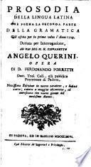 Prosodia della lingua latina ecc. Novissima ed
