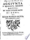 Quaranta Sermoni Detti In Varii Luoghi Sacri Di Roma