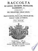 Raccolta di leggi, decreti, proclami, manifesti ec. Pubblicati dalle autorità costituite. Volume 1.\-43!