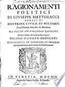 Ragionamenti politici di Giuseppe Mattheacci
