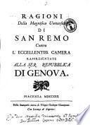 Ragioni della magnifica università di San Remo contro l'eccellentiss. camera rappresentate alla ser.ma repubblica di Genova[Francesco Nicoli!