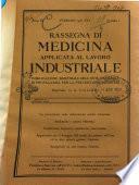 Rassegna di medicina applicata al lavoro industriale organo ufficiale dei Policlinici del Lavoro
