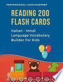 Reading 200 Flash Cards Italian - Hindi Language Vocabulary Builder For Kids
